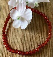 4.6g  FIERY CLEAR RED CARNELIAN CRYSTAL BEAD HEALING BRACELET Reiki  RUSSIA