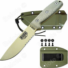 ESEE Model 4 Desert Tan Blade Serrated Micarta With OD Green Molded Sheath 4S-DT