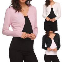 Women Long Sleeve Bolero Shrug Light Knit Cardigan Open Front Cape Short Jacket