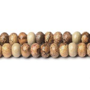 Brown/Beige Picture Jasper Beads Plain Rondelle 4x6mm Strand Of 90+