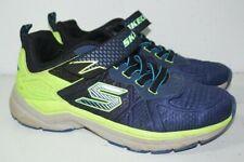 Skechers Blue Neon Green Slip On Athletic Shoes Boys Sz 4 Ultrasonix 97541L