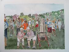 "Widows on Memorial Day, Salisbury, CT/Orig. W/C/ 10"" x 14""/ Mimi Davis, Artist"