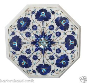 """15"""" White Marble Coffee Table Top Lapis Lazuli Stone Marquetry Inlay Decor H1747"""