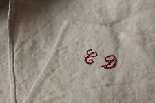 Antique French tea guest kitchen towel CD monogram linen c1900 washed lovely