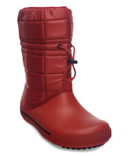 New Women's Crocs Quilted Crocband II.5 Winter Boot Shoes SZ 5 Red