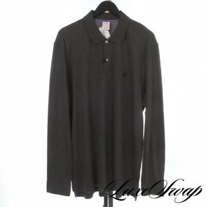 NWT Brooks Brothers Charcoal Grey Performance Stretch Longsleeve Polo Shirt XL