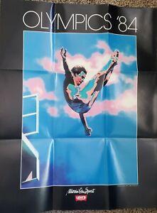"VINTAGE 1984 OLYMPICS POSTER~Los Angeles High Diving Levis 22x28"" Original Rare~"
