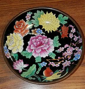 "Ceramic Bowl Wall Hanger Metal Back Floral Pattern 6"" Diameter Wall Art"
