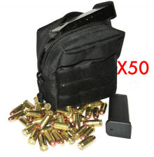 (50) .357 MAG AMMO MODULAR MOLLE UTILITY POUCH FRONT HOOK LOOP STRAP .357 357