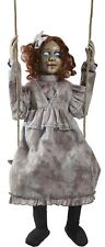 Halloween Haunted Swinging Decrepit Girl Doll Animated Hanging Prop with Sensor