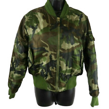Raw Blue Army Green Black & Brown Camouflage Puffer Coat Women's Large