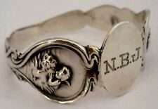 AMERICAN ART NOUVEAU UNGER BROTHERS STERLING NAPKIN RING LOVES DREAM   C. 1904