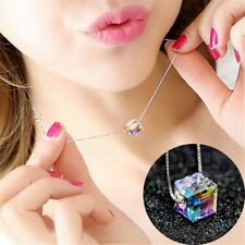 Aurora Borealis Swarovski Cube Crystal Necklace with 925 Silver Plated Chain New