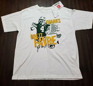 NWT Reebok Brett Favre Green Bay Packers Tshirt Mens Large White