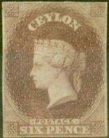 Ceylon 1859 6d Purple-Brown SG6 Fine & Fresh Unused 4 Clear Margins EX-Sir Ro...