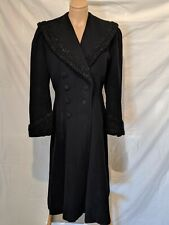 Vintage 1940s Wool Coat With Persian Lamb Trim Good Condition Sz S/M