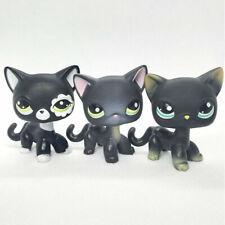 3PCS/rare pet shop lps toys standing littlest short hair cat black action figure