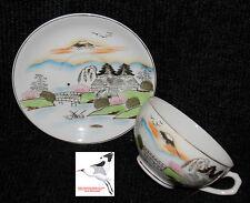 Giapponese Geisha Coppa & Piattino lithopane Eggshell porcellana dipinto a mano Oriental