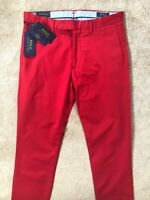 "RALPH LAUREN POLO RALPH RED SLIM FIT HDN CHINOS TROUSERS PANTS - 30"" - NEW TAGS"