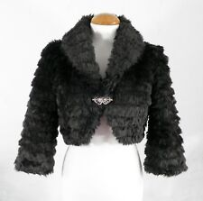 Ladies Dark Brown Fun Fur Cropped Jacket / Bolero by Dorothy Perkins  Size S