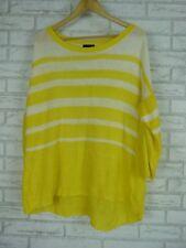 SPORTSCRAFT Knit top Sz L, 14 Yellow, white stripe 100% linen