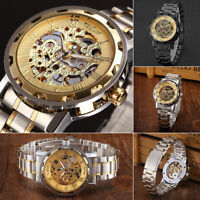 New Winner Men's Skeleton Stainless Steel Steampunk Mechanical Sport Wrist Watch