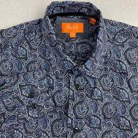 Tallia Button Up Shirt Mens M Black Blue Long Sleeve Cotton Paisley Casual Shirt