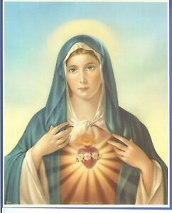 "Catholic Print Picture Immaculate Heart of Mary Simeone 8x10"" Ready to frame"