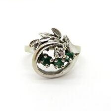 Antique Vintage Estate 14K White Gold  Emerald and Diamond Leaf Ring