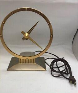 Vintage MCM Mid Century Modern The Jefferson Golden Hour Electric Clock WORKING!