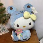 "Hello Kitty Plush Doll Blue Frog Costume Rare Side Sitting 12"" Sanrio"