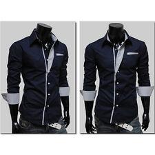 Mens British Luxury Long Sleeve Casual Slim Fit Stylish Dress Shirt Tops Fashion