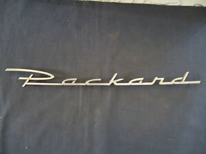 RARE PACKARD   Emblem Trim Script Metal Badge Vintage   Nameplate Chrome