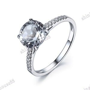 Fine Jewelry 10K White Gold 1.47CT Round 8mm White Topaz Natural SI Diamond Ring