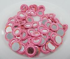 100pc Pack/ 16mm Tiny Mirrors in Pink Crochet Frame, Sew On Glue On #2258 NEW