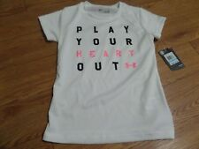 BNWT-GIRLS SIZE 5  UNDER ARMOUR SHIRT -WHITE  PLAY YOUR HEART OUT