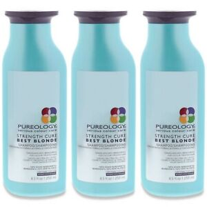 3 PACK!!! PUREOLOGY SERIOUS COLOUR CARE STRENGTH CURE BEST BLONDE SHAMPOO 8.5 OZ