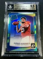 PATRICK MAHOMES 2017 DONRUSS OPTIC #177 LIME REFRACTOR ROOKIE RC BGS 9.5 10