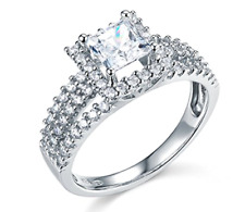 2.25 Ct Princess Cut Halo Engagement Wedding Promise Ring Solid 14K White Gold