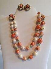 Vintage Early Coro Fruit Salad Demi Parure Necklace Earrings Set