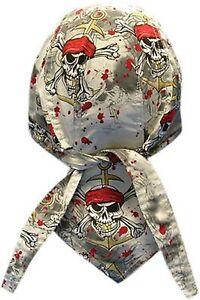 Pirate's Warning Bandanna Du Do Doo Rag  Skull Cap Head Wrap Biker Hat New