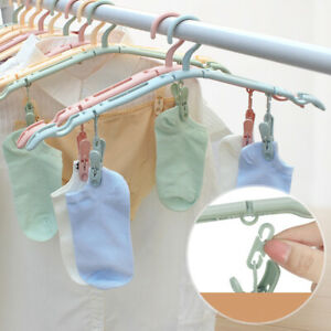 1X Portable Clothes Hanger Foldable Drying Rack Travel Clothes Hanger with Clip