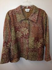Bon Worth M Floral Tapestry Jacquard Long Sleeve Top Shirt Jacket EUC PERFECT