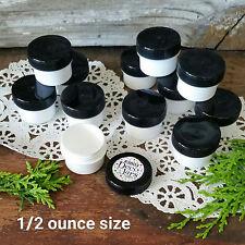 12 White Opaque Plastic Jars Black Caps 1/2 oz 1Tbl Cosmetic DecoJars #3803 Usa