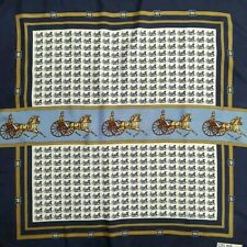CelineScarf Wrap Square Women Blue Equestrian Vintage Humroll Italy Silk33*34.5""