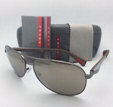 PRADA Sunglasses SPS 51O 5AV-1C0 62-14 Gunmetal-Carbon Fiber Aviator+Gold Mirror