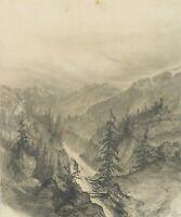 M.Savigny (1831-1905), Waldlandschaft mit Wildbach und Burgruine, Bleistiftzchng