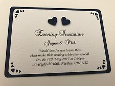 50 Wedding Invites - 3d Navy Hearts with Cut out Corners & Envelopes - Handmade
