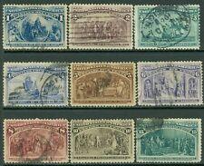 USA : 1893. Scott #230-38 Used. Nice group. #238 small faults. Catalog $165.00.