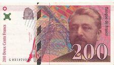 Billet Français 200 francs Eiffel 1996